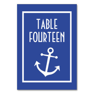 Nautical Boat Anchor Numbers (Navy Blue / White) Card