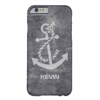 Nautical Boat Anchor On Grungy Metallic Texture Barely There iPhone 6 Case