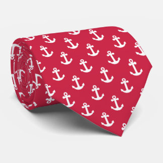 Nautical Boat Anchor Red and White Mans Tie