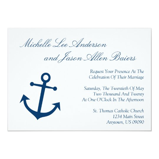 anchor wedding invitations nautical boat anchor wedding invitations navy zazzle 1298