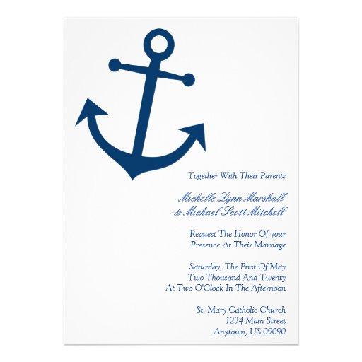 Nautical Boat Anchor Wedding Invites (Dark Blue)