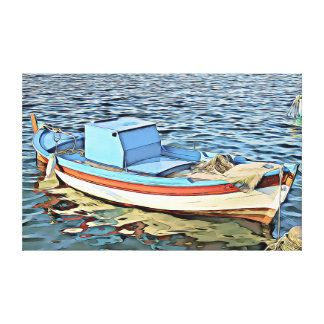 "Nautical Boat Dinghy/Dory 27"" X 17"" Canvas Print"