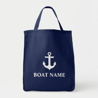 Nautical Boat Name Anchor Blue Grocery Tote Bag