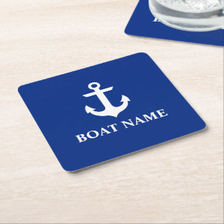 Nautical Boat Name Anchor Blue Square Paper Coaster