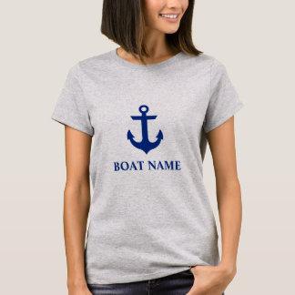 Nautical Boat Name Anchor Gray W T-Shirt