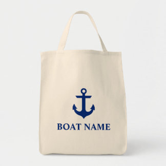 Nautical Boat Name Anchor Grocery Tote Bag