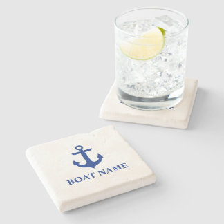 Nautical Boat Name Anchor Limestone Stone Coaster