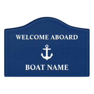 Nautical Boat Name Anchor Navy Blue Crest Small Door Sign