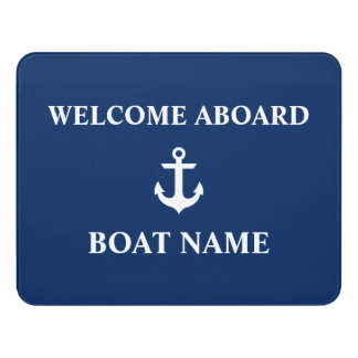 Nautical Boat Name Anchor Navy Blue Door Sign