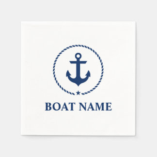 Nautical Boat Name Anchor Rope Navy Blue and White Paper Napkin