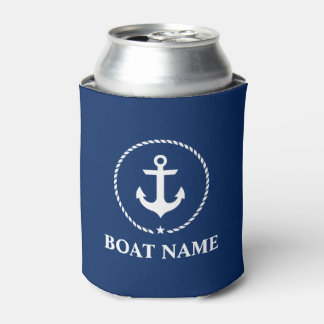 Nautical Boat Name Anchor Rope Navy Blue Can Cooler