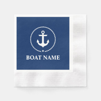 Nautical Boat Name Anchor Rope Navy Blue Cocktail Disposable Napkin