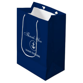 Nautical Boat Name Anchor Rope Navy Blue Medium Gift Bag