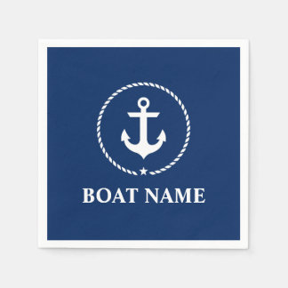 Nautical Boat Name Anchor Rope Navy Blue Paper Napkin