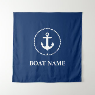 Nautical Boat Name Anchor Rope Navy Blue Square Tapestry