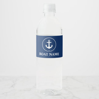 Nautical Boat Name Anchor Rope Navy Blue Water Bottle Label