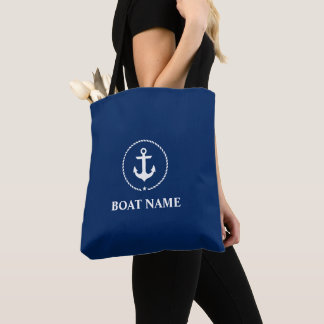 Nautical Boat Name Anchor Rope Tote Bag Navy Blue