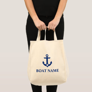 Nautical Boat Name Anchor Star Grocery Tote Bag