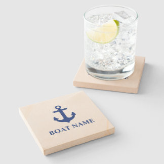Nautical Boat Name Anchor Stone Coaster