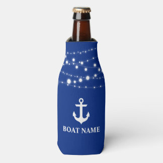 Nautical Boat Name Anchor String Lights Blue Bottle Cooler