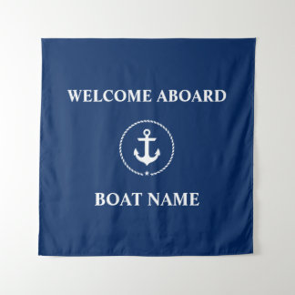 Nautical Boat Name Anchor Welcome Navy Blue Square Tapestry