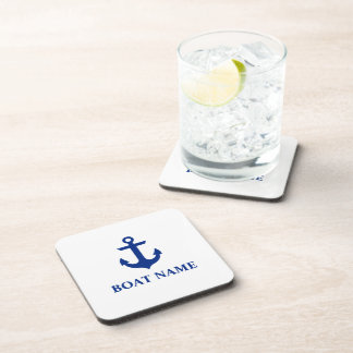 Nautical Boat Name Anchor White Coaster