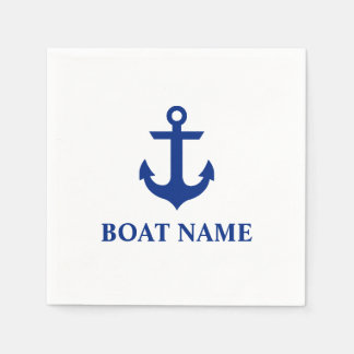 Nautical Boat Name Anchor White Cocktail Disposable Serviette
