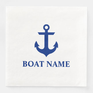 Nautical Boat Name Anchor White Dinner Paper Napkins