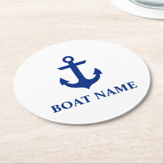 Nautical Boat Name Anchor White Round Paper Coaster