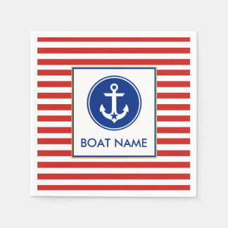Nautical Boat Name Party Cocktail Napkins RWB Paper Napkin