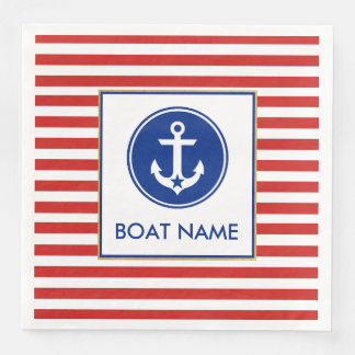 Nautical Boat Name Party Dinner Napkins RWB Disposable Serviette