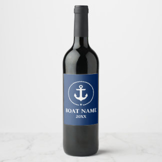 Nautical Boat Name Year Anchor Rope Navy Blue Wine Label