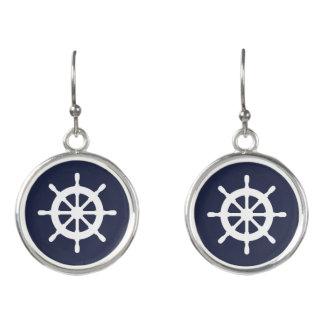 Nautical boat wheel maritime custom drop earrings