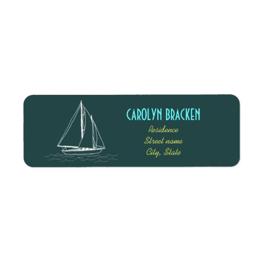 Nautical Boat Yellow Blue Return Address Labels