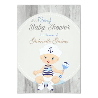 Nautical Boy Baby Shower Custom Invitation