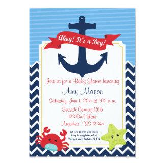 Nautical Boy Baby Shower Personalised Invitation