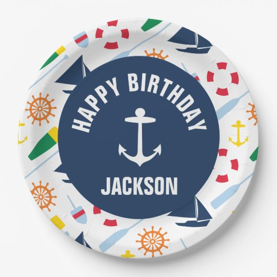 Nautical Boy Personalised Happy Birthday Plate 9 Inch Paper Plate