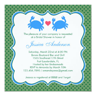 Nautical Bridal Shower Blue/Green Invitation
