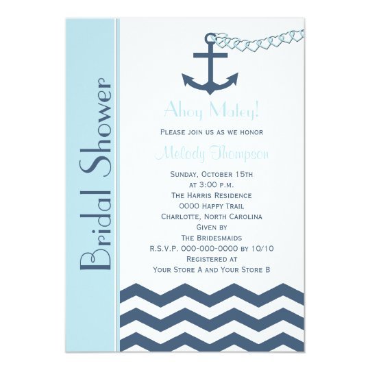 Nautical Bridal Shower Invitation, Blue Card