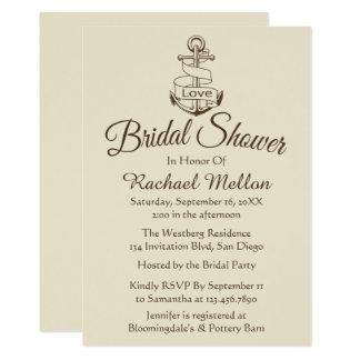 Nautical Bridal Shower Ship Anchor Tan Brown Card