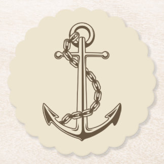 Nautical Brown Ship Anchor Tan Wedding Party Paper Coaster