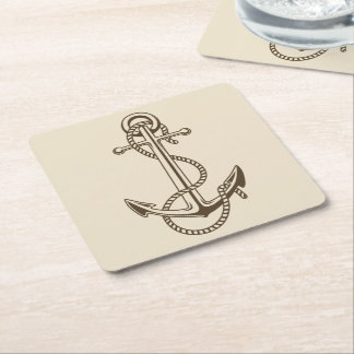 Nautical Brown Ship Anchor Tan Wedding Party Square Paper Coaster