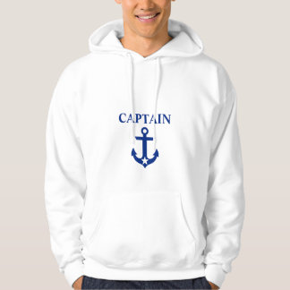 Nautical Captain Anchor Star White Hoodie