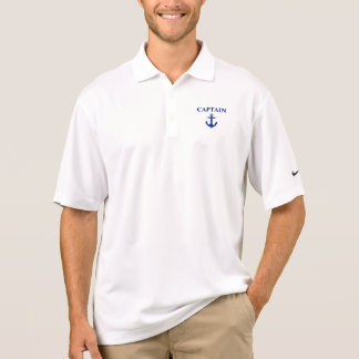 Nautical Captain Anchor White Nike Polo Shirt