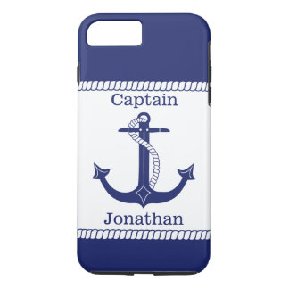 Nautical Captain Blue Anchor Personalized iPhone 8 Plus/7 Plus Case