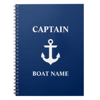 Nautical Captain Boat Name Anchor Navy Blue Notebook