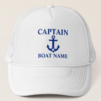 Nautical Captain Boat Name Anchor Star White Trucker Hat