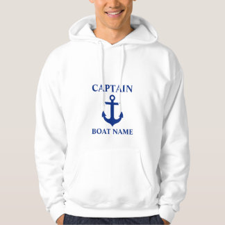Nautical Captain Boat Name Anchor White Hoodie