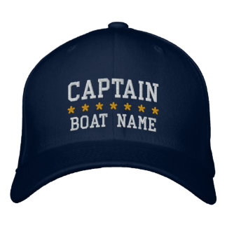 Nautical Captain Your Boat Name Cap Blue Embroidered Baseball Caps