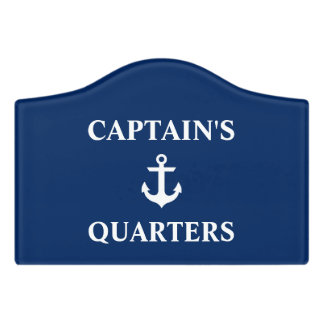 Nautical Captain's Quarters Anchor Navy Blue Crest Door Sign